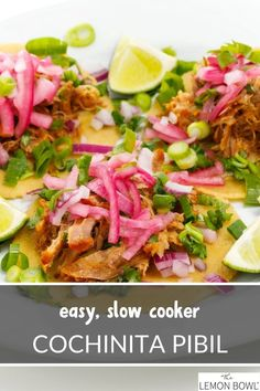 Cochinita pibil is an authentic Mexican recipe made with pork shoulder which is slowly cooked with citrus and achiote paste until tender and juicy. We suggest serving with warm corn tortillas. #slowcooker #easyrecipes #dinner