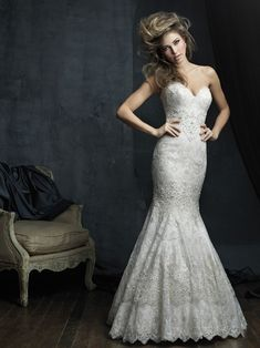 Wedding Dress by Allure Couture - Search our photo gallery for pictures of wedding dresses by Allure Couture. Find the perfect dress with recent Allure Couture photos. Wedding Dress Winter, Wedding Dresses Size 14, Wedding Dress Pictures, Wedding Bridesmaid Dresses, Bridal Dresses, Wedding Gowns, Lace Wedding, Dream Wedding, Allure Couture