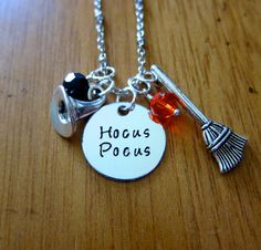 Hocus Pocus Inspired Halloween Necklace. Witch Hat. Witch Broom. Swarovski Crystals. Silver colored. Hand Stamped. Free shipping