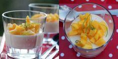 Panna cotta with mangosalsa Mango Salad, Fruit Salad, Frisk, Something Sweet, Cantaloupe, Panna Cotta, Sandwiches, Recipies, Pudding