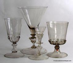 16th and 17th century Facon de Venise wine glasses
