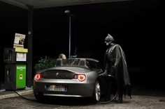 Batman. 33 years old. Pump attendant at night - Photography by Benjamin Béchet