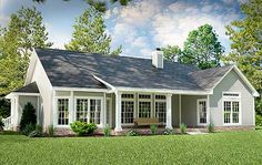 2001 sq ft  rear elevation Plan 31093D: Great Little Ranch House Plan