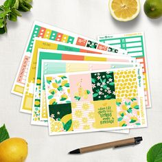 Lemonade - Full Planner sticker kit sheets) - for Happy Planner and Erin Condren Life Planner, Happy Planner, Permanent Marker, Erin Condren, Gel Pens, Washi, Planner Stickers, Lemonade, Original Artwork