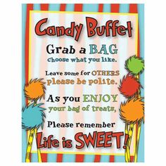 Dr Seuss Candy Buffet Sign by PaperBearSweets on Etsy
