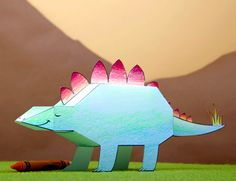 Pet Stegosaurus Dinosaur Paper Craft (Printable Coloring Page and Activity for Kids) | Spoonful