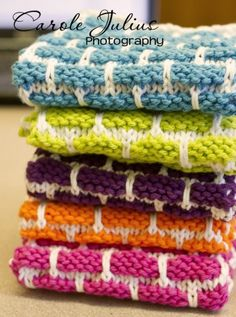 stack of dishcloths for carole knits, I did this pattern, super easy and cute!