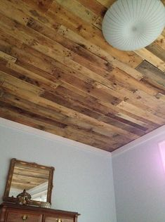 Wood Ceiling ♥ I want to do this in my kitchen dinning and livingrooms pallet ceiling Into The Woods, Basement Ceiling Options, Ceiling Ideas, Acoustic Ceiling Tiles, Pallet Ceiling, Timber Ceiling, Wood Ceilings, Bathroom Ceilings, Bedroom Ceiling