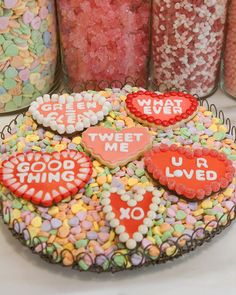 Conversation Cookie Hearts Valentine's Day Cookie Recipes | Martha Stewart Living - Express sweet sentiment this Valentine's Day with colorful conversation cookie hearts from in-house stylist Dani Fiore.
