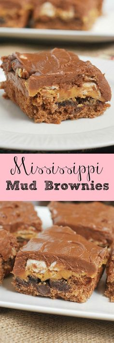 Mississippi Mud Brownies - chocolate marshmallows peanut butter pecans and more! These are so rich and delicious! Mississippi Mud Brownies - chocolate marshmallows peanut butter pecans and more! These are so rich and delicious! 13 Desserts, Chocolate Desserts, Chocolate Marshmallows, Delicious Desserts, Yummy Food, Chocolate Frosting, Delicious Chocolate, Brownie Recipes, Cookie Recipes