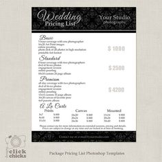 Photography Package Pricing List Template Wedding Guide Price Sheet 018 C167 Instant