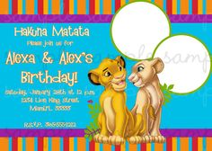 Lion King Chalkboard Birthday Party Invitations Personalized Party