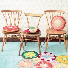 Crochet chair cushions