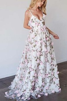 Floral Prom Dress Long, Fancy Prom Dresses, Floral Dresses With Sleeves, V Neck Prom Dresses, Floral Gown, Tulle Prom Dress, Bridesmaid Dress, Formal Dresses, Floral Lace