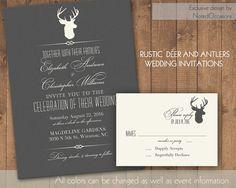 Rustic Wedding Invitations Rustic Deer and antlers | DIY custom digital printable file by NotedOccasions, $45.00