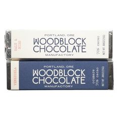 Woodblock Chocolate Bars made in small batches with carefully sourced beans in Portland, OR (where else? Salted Chocolate, Chocolate Bars, Chocolate Company, Cool Packaging, Packaging Design, Packaging Ideas, Food Suppliers, Mobile Shop, Chocolate Packaging