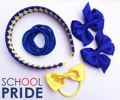 School Hair Accessories - Starter Value Pack School Hair Bows, Elastic Hair Ties, Hairstyles For School, Satin Bows, First Day Of School, School Uniform, Little Ones, Hair Clips, Great Gifts