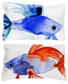 Margaret Berg Art: Watercolor+Fish+Pillows