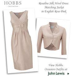 Hobbs two piece silk wool dress & matching jacket in English rose pink