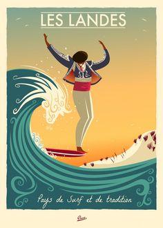The Landes, France. Vintage surf poster art by Damien Clavé. Vintage Surfing, Surf Vintage, Poster Surf, Beach Posters, Surf Posters, Retro Posters, Kunst Poster, Surf Art, Vintage Travel Posters