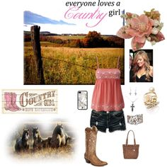 Pink country girl, created by wrays-girl on Polyvore