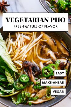 This vegetarian pho is FULL of FLAVOR, thanks to spices, herbs and sautéed shiitake mushrooms! It's fun to make, too. Warm up with homemade pho! recipes easy crock pots Vegetarian Pho Recipe (Vietnamese Noodle Soup) - Cookie and Kate Veggie Recipes, Soup Recipes, Whole Food Recipes, Cooking Recipes, Healthy Recipes, Pho Soup Recipe Vegan, Good Vegetarian Recipes, Pho Recipe Easy, Vegetarian Asian Recipes