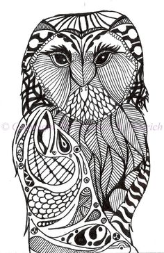 Black and White Art Pen and Ink Bird Signed 5 x 7 Owl Print Home Decor Design Drawing. $18.00, via Etsy.