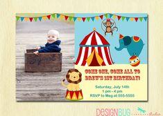 Circus Carnival Birthday Invitation - Circus Birthday - First Birthday - 1 Year Old Boy - DIY Printable Photo Invite - 1st Birthday.