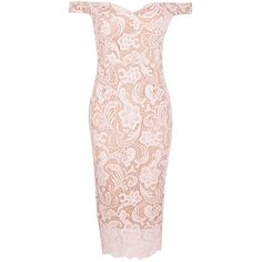 Boohoo Boutique Marcie Lace Off Shoulder Midi Dress | Boohoo ($42) ❤ liked on Polyvore featuring dresses, платья, lace bodycon dress, maxi dresses, lace maxi dress, sequin cocktail dresses and pink lace dress