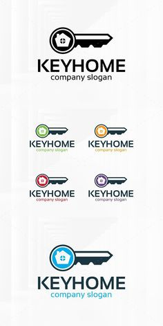 The Key Home Logo Template A professional logo for many kinds of real estate business. All elements are fully vector and can be used for both print and web. Property Design, Home Icon, Real Estate Business, Professional Logo, Home Logo, Window Design, Logo Templates, Key, Logos