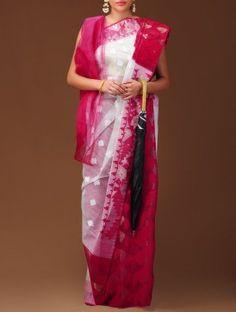 Red Dhakai Jamdani Cotton Saree