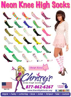 A variety of Neon Knee High Socks Neon Knee Socks, Knee High Socks, Sock Shop, Colorful Socks, Fashion Socks, Tights, Slippers, Lettering, Sport