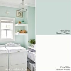 Choosing a Coastal Color Palette - Rainwashed - Sherwin Williams + more coastal paint color combinations BATHROOM COLORS Coastal Paint Colors, Coastal Color Palettes, Bedroom Paint Colors, Paint Colors For Home, Interior Paint Colors, Paint Colours, Best Bathroom Paint Colors, Green Bathroom Paint, Playroom Paint Colors