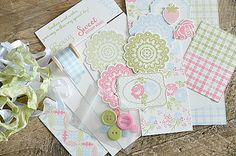 Vintage Shabby Chic Homespun Country Quilted Greeting Card Kit- Sweet Berry