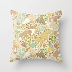 Animal's Tea Party Throw Pillow