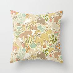 Animals Tea Party Throw Pillow