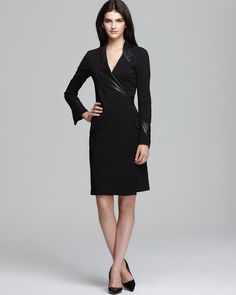 DIANE von FURSTENBERG Wrap Dress - Glam Leather Trim   Bloomingdale's