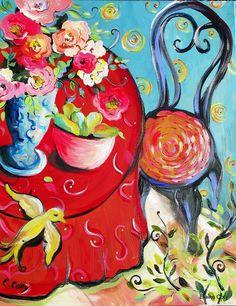 Yellow Bird Still Life Painting 16 x 20 por ElainesHeartsong