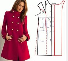 Altering a straight coat pattern.} More advanced sewers can probably figure out how to change the front pattern pieces of a similarly styled jacket to include an extended facing, front in-seam pockets and a wider bottom hem. Coat Patterns, Clothing Patterns, Dress Patterns, Sewing Patterns, Fashion Sewing, Diy Fashion, Ideias Fashion, Fashion Ideas, Sewing Clothes