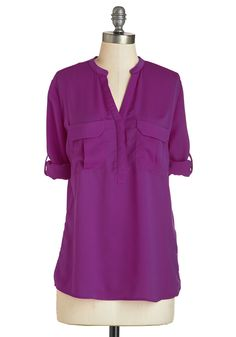 Sunny Start Top - Mid-length, Satin, Woven, Purple, Solid, Work, Casual, Short Sleeves, V Neck, Purple, Tab Sleeve, Pockets