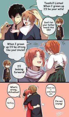 [Okita Family] Sacrifice father life so he can meet his child [ OkiKagu ] It's kind of I think. Relate to this post Okita Family Anime Love Couple, Cute Anime Couples, Okikagu Doujinshi, Gintama Funny, Manga Anime, Anime Art, Another Anime, Cute Comics, Itachi Uchiha