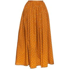 Thierry Colson Grisette carnation-print cotton skirt found on Polyvore featuring skirts, yellow multi, high-waisted skirts, high rise skirts, high-waist skirt, high waist skirt and orange skirt