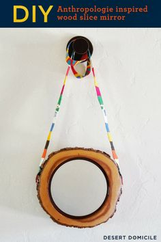 Anthropologie Inspired Wood Slice MirrorDIY Gold Leaf Hurricane