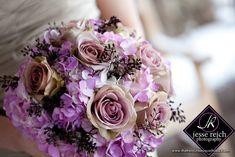 bright wedding flowers bridal bouquet deep purple hydrangeas pink ...