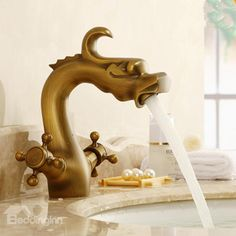 Amazing Classic Hot and Cold Water Changing Dragon Design Bathroom Sink Faucet