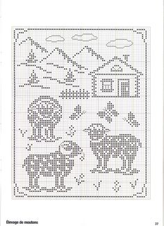 ru / Foto # 26 - Point de croix Collector Avril-Mai 2009 - natalytretyak Plus Filet Crochet, Crochet Sheep, Crochet Cross, Crochet Chart, Crochet Motif, Crochet Patterns, Loom Patterns, Sheep Cross Stitch, Cross Stitch Animals