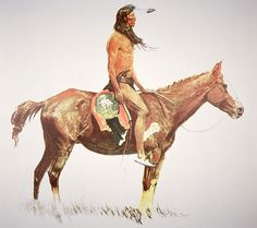 A Cheyenne Brave Painting by Frederic Remington