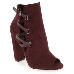 Women's Daya By Zendaya 'Kaylor' Peep Toe Buckle Strap Bootie (145 CAD) ❤ liked on Polyvore featuring shoes, boots, ankle booties, plum, peeptoe bootie, ankle boots, peep-toe ankle booties, buckle strap ankle boots and peep toe bootie