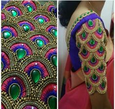 Most Beautiful Overall Design with Normal Stitching Needle- Same Like Aari/Maggam work on Blouse Hand Work Design, Hand Work Blouse Design, Fancy Blouse Designs, Bridal Blouse Designs, Blouse Neck Designs, Sleeve Designs, Aari Work Blouse, Magam Work Blouses, Maggam Work Designs