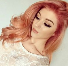 Pin by emily on makeup hair shades, strawberry blonde hair, gold hair c Cabelo Rose Gold, Rose Gold Hair, Peach Hair, Apricot Hair, Gold Hair Colors, Pastel Colors, Unique Hair Color, Fun Hair Color, New Hair Color Trends